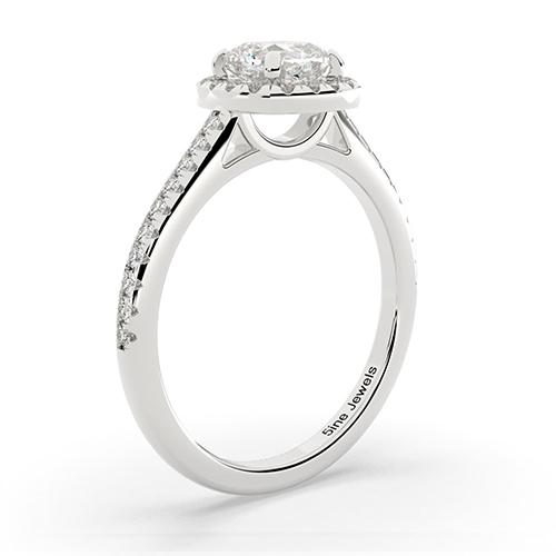 1.20 Ct SI2 G Cushion Cut Cushion Style Diamond Halo Engagement Ring 18K-White Gold
