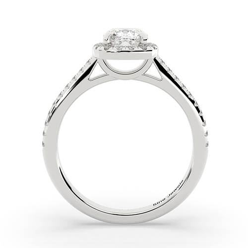 1.20 Ct SI2 G Cushion Cut Cushion Style Diamond Halo Engagement Ring 18K-White Gold