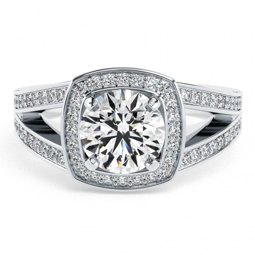 1.35 Ct VS2 G Round Brilliant Cut Cushion Style Split Shank Diamond Halo Engagement Ring 18K-White Gold
