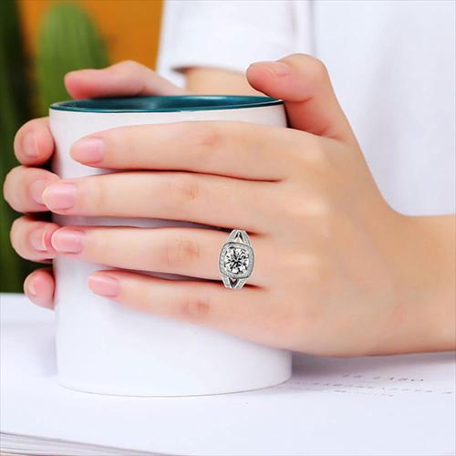1.35 Ct VS2 G Round Brilliant Cut Cushion Style Split Shank Diamond Halo Engagement Ring 18K-White Gold
