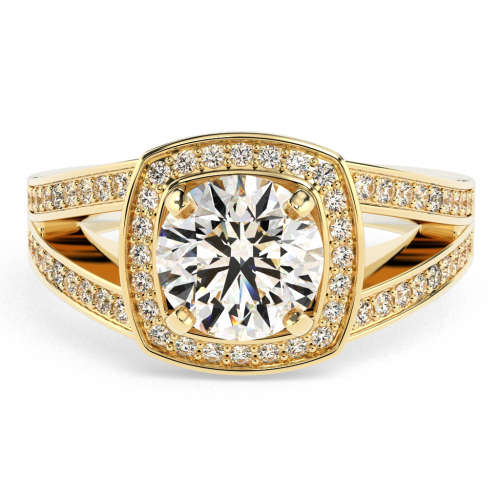 Round Brilliant Cut Cushion Style Split Shank Diamond Halo Engagement Ring