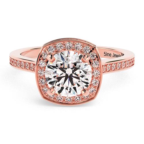Round Brilliant Cut Cushion Style Diamond Halo Engagement Ring