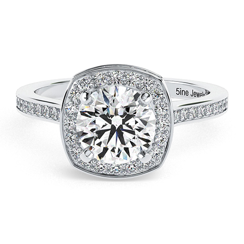 Round Brilliant Cut Cushion Style Diamond Halo Engagement Ring