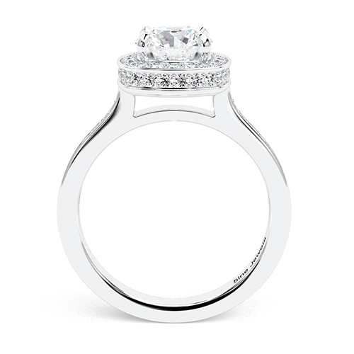 1.50 Ct SI2 H Round Brilliant Cut Cushion Style Diamond Halo Engagement Ring 18K-White Gold