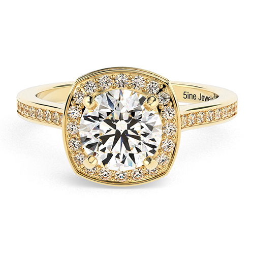 Round Brilliant Cut Cushion Style  Halo  Engagement Ring