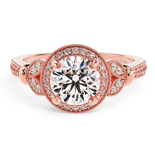 Round Brilliant Cut Miligrain Vintage  Halo  Engagement Ring