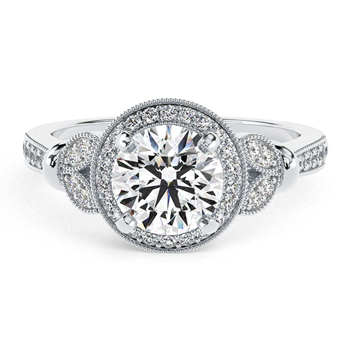 1.30 Ct SI1 G Round Brilliant Cut Miligrain Vintage Diamond Halo Engagement Ring 18K-White Gold