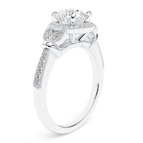 1.30 Ct SI1 G Round Brilliant Cut Miligrain Vintage Diamond Halo Engagement Ring 18K-White Gold