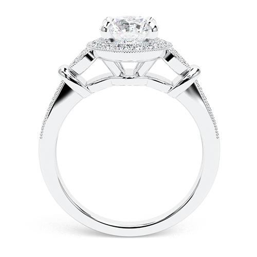 Round Brilliant Cut Miligrain Vintage  Halo  Engagement Ring