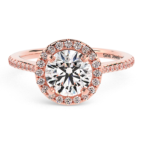 Round Brilliant Cut Two Tone  Halo  Engagement Ring