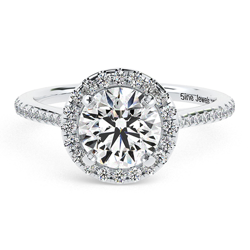 Round Brilliant Cut Two Tone Diamond Halo Engagement Ring