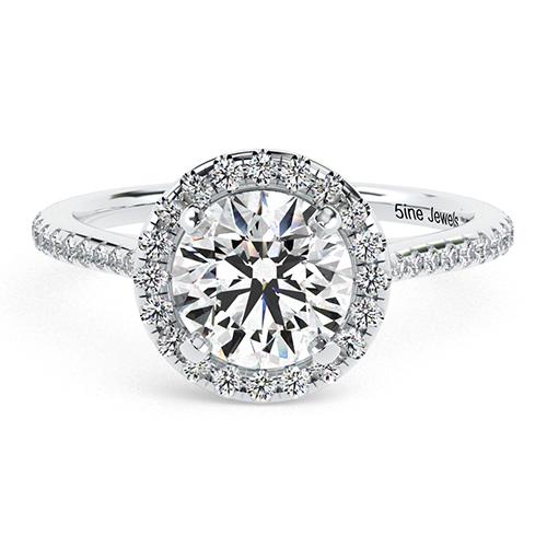 Round Brilliant Cut Two Tone Diamond Halo Engagement Ring