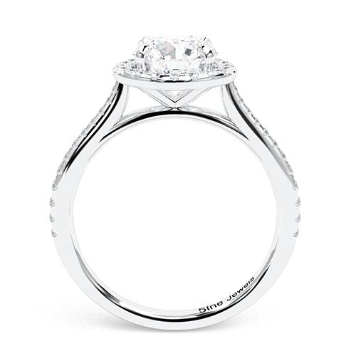 1.35 Ct SI2 E Round Brilliant Cut Two Tone Diamond Halo Engagement Ring 18K-White Gold