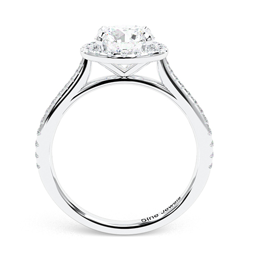 1.35 Ct SI2 E Round Brilliant Cut Two Tone Diamond Halo Engagement Ring 18K-White Gold