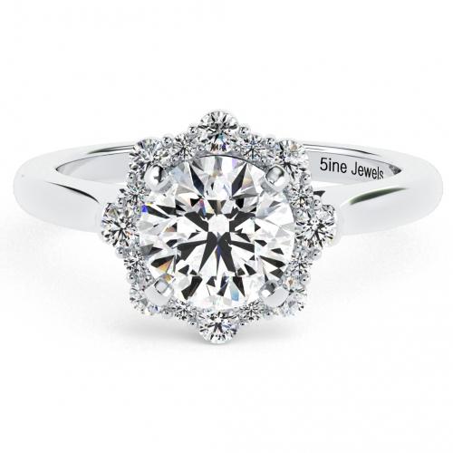 Round Brilliant Cut Flora Vintage Diamond Halo Engagement Ring