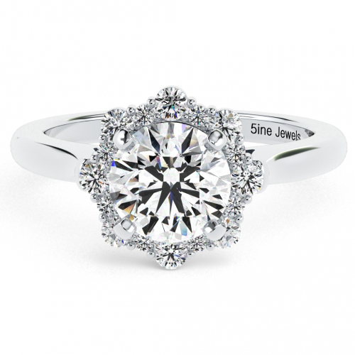 1.20 Ct SI2 G Round Brilliant Cut Flora Vintage Diamond Halo Engagement Ring 18K-White Gold