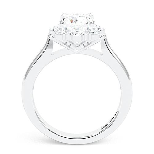 1.20 Ct SI2 G Round Brilliant Cut Flora Vintage Diamond Halo Engagement Ring 18K-White Gold