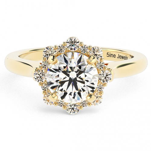 Round Brilliant Cut Flora Vintage  Halo  Engagement Ring