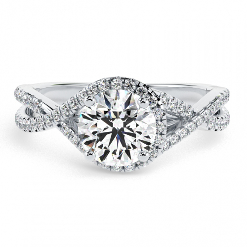 1.05 Ct SI2 F Round Brilliant Cut Twisted Shank Diamond Halo Engagement Ring 18K-White Gold
