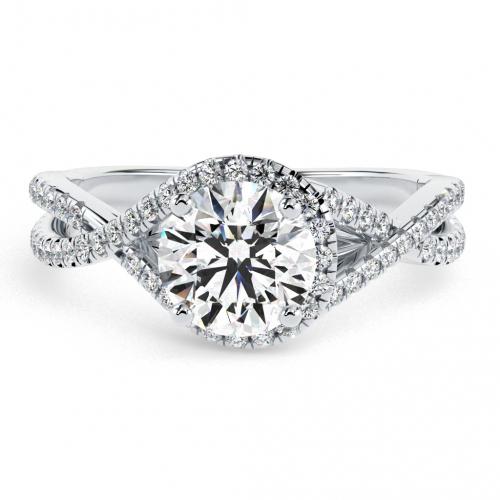 Round Brilliant Cut Twisted Shank Diamond Halo Engagement Ring