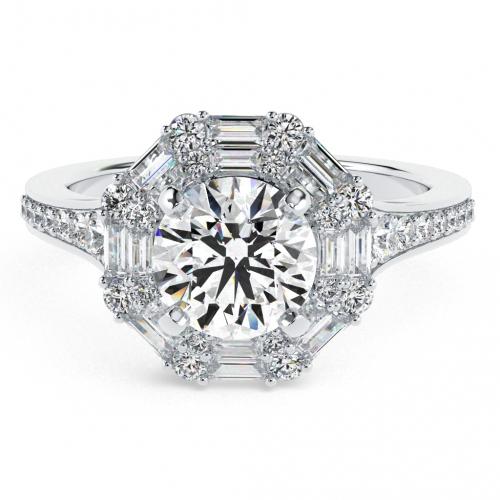 Round Brilliant Cut Double Diamond Halo Engagement Ring