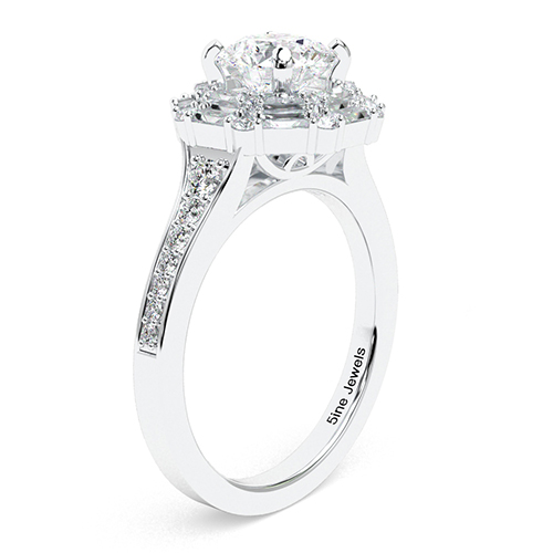 1.50 Ct SI1 G Round Brilliant Cut Double Diamond Halo Engagement Ring 18K-White Gold