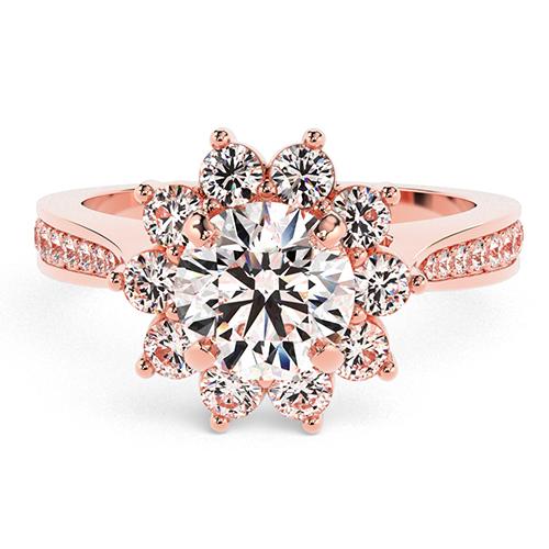 Round Brilliant Cut Starburst  Halo  Engagement Ring