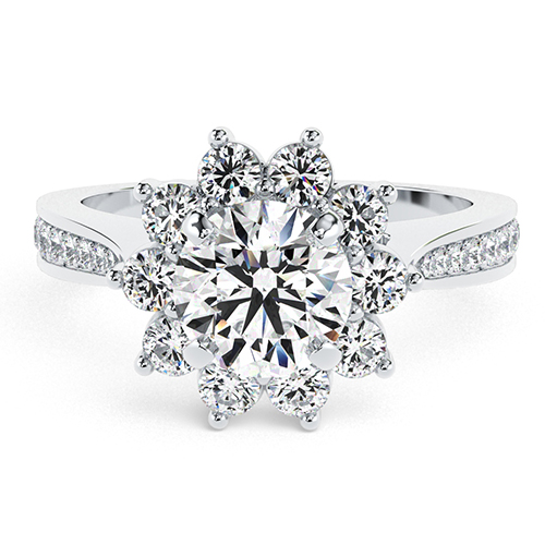 Round Brilliant Cut Starburst Diamond Halo Engagement Ring