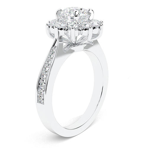 1.70 Ct SI2 H Round Brilliant Cut Starburst Diamond Halo Engagement Ring 18K-White Gold