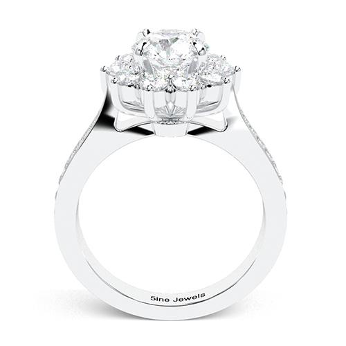 1.70 Ct SI2 H Round Brilliant Cut Starburst Diamond Halo Engagement Ring 18K-White Gold