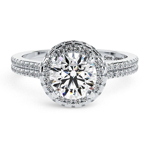 1.50 Ct SI2 H Round Brilliant Cut Twin Shank Diamond Halo Engagement Ring 18K-White Gold