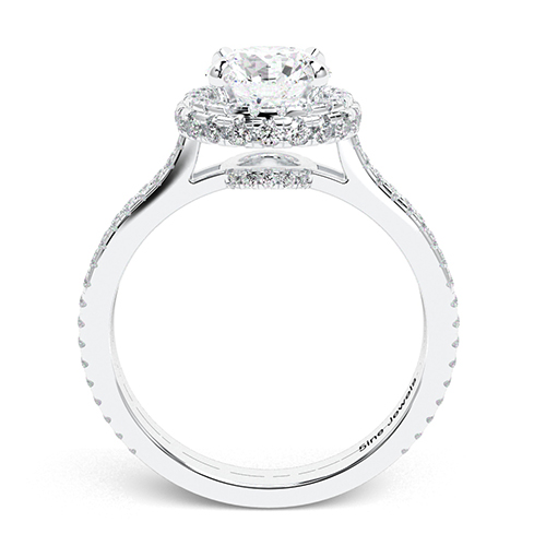 Round Brilliant Cut Twin Shank  Halo  Engagement Ring