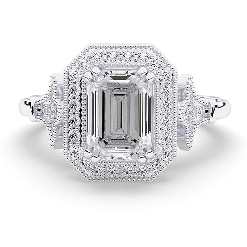 1.20 Ct VS2 I Emerald Cut Vintage Double Prong Diamond Halo Engagement Ring 18K-White Gold