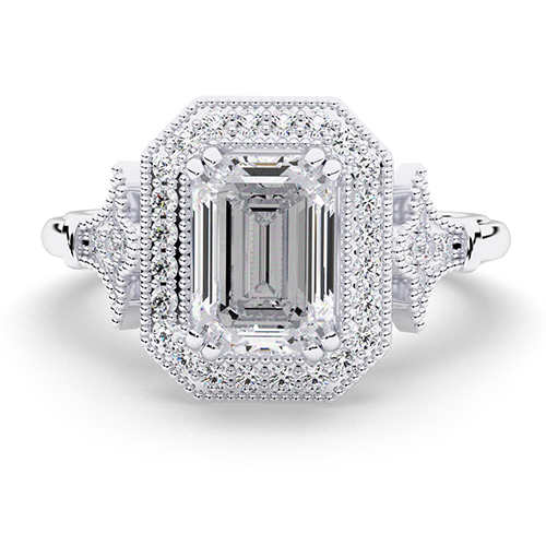 Emerald Cut Vintage Double Prong Diamond Halo Engagement Ring
