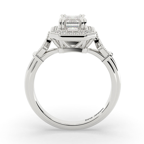 1.20 Ct VS2 I Emerald Cut Vintage Double Prong Diamond Halo Engagement Ring 18K-White Gold