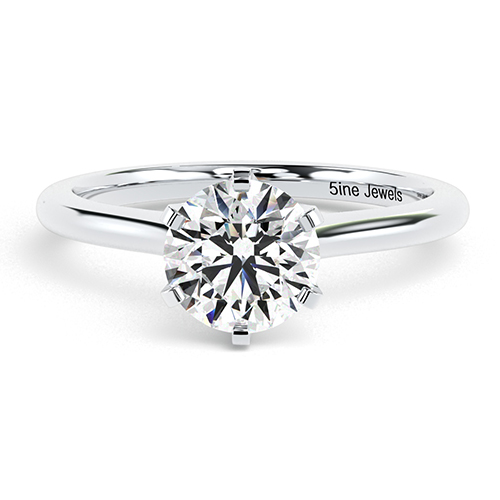 Round Brilliant Cut 6 Prong Simple Diamond Solitaire Engagement Ring