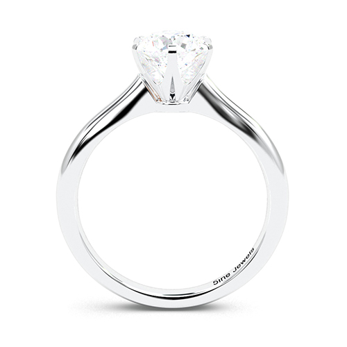 1.00 Ct SI1 H Round Brilliant Cut 6 Prong Simple Diamond Solitaire Engagement Ring 18K-White Gold