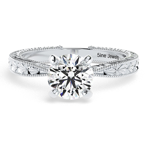 Round Brilliant Cut Hand Engraved Diamond Solitaire Engagement Ring