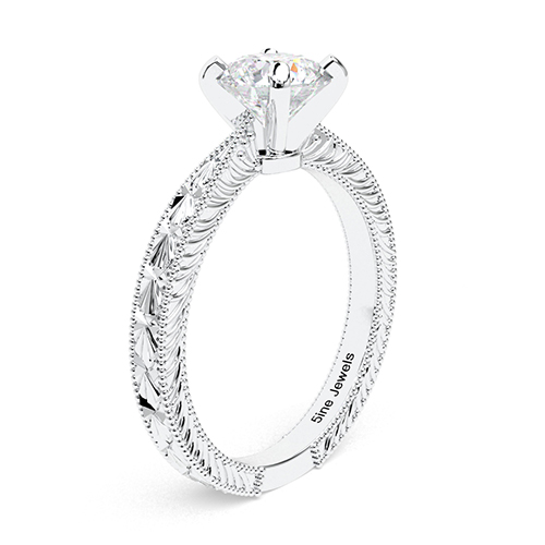 1.00 Ct SI2 H Round Brilliant Cut Hand Engraved Diamond Solitaire Engagement Ring 18K-White Gold