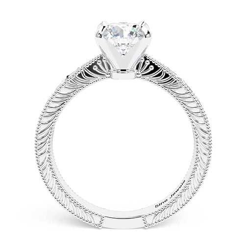 Round Brilliant Cut Hand Engraved  Solitaire  Engagement Ring