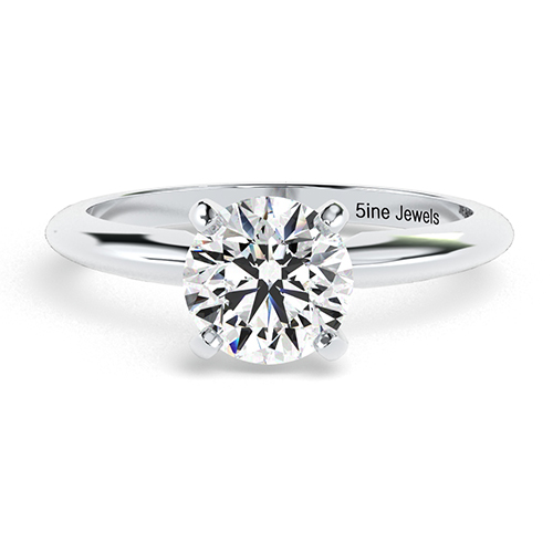 1.00 Ct SI2 G Round Brilliant Cut Tapered Diamond Solitaire Engagement Ring 18K-White Gold