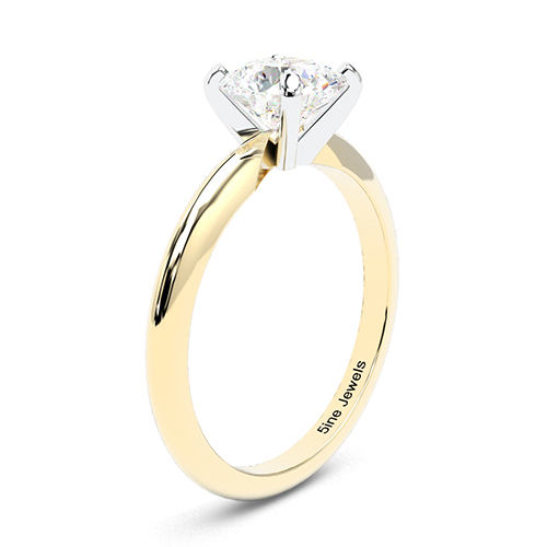Round Brilliant Cut Tapered Diamond Solitaire Engagement Ring 18K-Yellow Gold