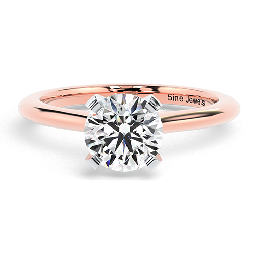 Round Brilliant Cut Petite 4 Prong Diamond Solitaire Engagement Ring