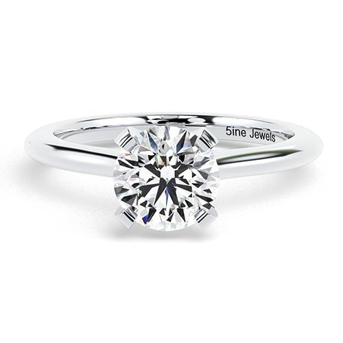 Round Brilliant Cut Petite 4 Prong Diamond Solitaire Engagement Ring