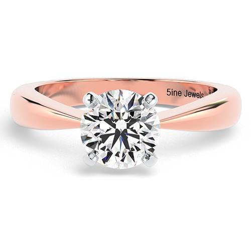 Round Brilliant Cut Tapered Bow Style  Solitaire  Engagement Ring