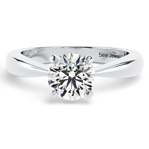 1.00 Ct SI2 G Round Brilliant Cut Tapered Bow Style Diamond Solitaire Engagement Ring 18K-White Gold
