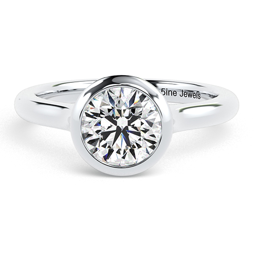 1.00 Ct SI2 G Round Brilliant Cut Bezel Diamond Solitaire Engagement Ring 18K-White Gold