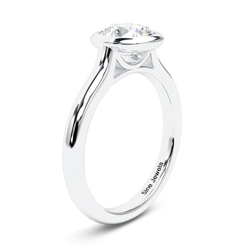 1.00 Ct SI2 G Round Brilliant Cut Bezel Diamond Solitaire Engagement Ring 18K-White Gold