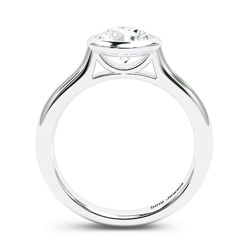 Round Brilliant Cut Bezel  Solitaire  Engagement Ring