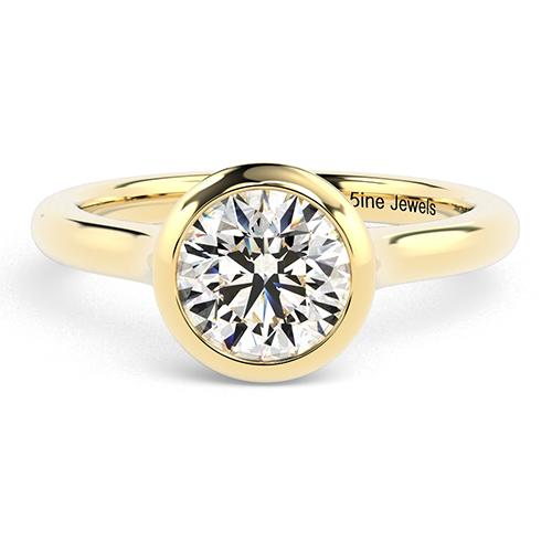 Round Brilliant Cut Bezel  Solitaire  Engagement Ring